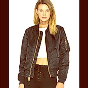 Marc Jacobs Black Bomber Jacket with Orange Lining